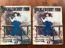 Lot of 2 Novelty Sheet Music 1917 Huckleberry Finn Lg Format Barbelle Cover Art
