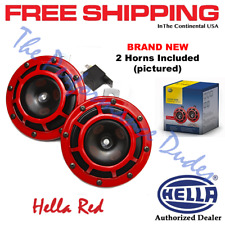 HELLA Red Super Tone Dual Car Horns 12V 118dB Loud Authentic INSTOCK - NO WAIT