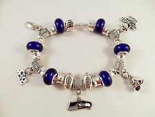 GLASS BEADS Official NFL SEATTLE SEAHAWKS Football Charm Bracelet SILVER BLUE