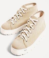 New Zara TRF Women Canvass Fabric Sneakers Beige Platform Ankle Boots 9