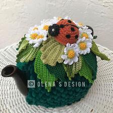 Handmade Crochet tea cozy tea cover daisy tea cosy tea warmer daisy lady bug