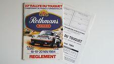 Règlement + Bulletin d'engagement Rallye du Touquet 1984
