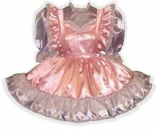 """Krista"" Custom Fit PINK & LILAC SATIN Adult LG Baby Sissy Dress LEANNE"