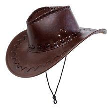 Sombrero de vaquero con pespunte marrón NUEVO - CARNAVAL SOMBRERO GORRO SOMBRERO