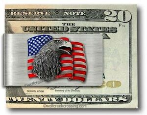 AMERICAN EAGLE USA FLAG FREEDOM STEEL MONEY CLIP PATRIOTIC MILITARY - FREE SHIP