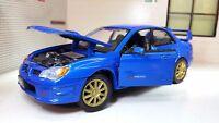 1:24 Echelle Bleu Vif Motormax Subaru Impreza Wrx Sti Voiture Modélisme 2005