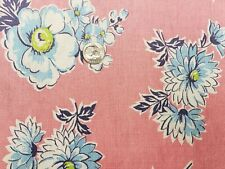 BEST Vintage Feedsack Quilt Fabric 40s Blue Flowers on PINK WWII Era Flour Sack