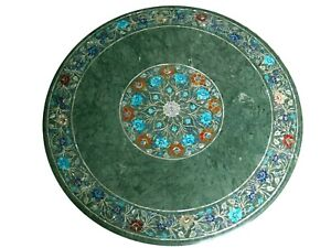 """42 x 42"""" Marble Dining Table Top with Marquetry Art Floral Design Hallway table"""