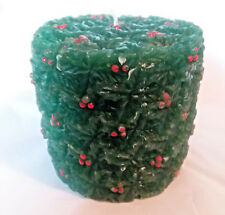 Christmas Green Holly & Berries Round Christmas Candle