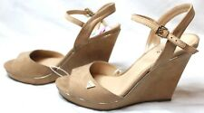 GUESS Women's High Heels Wedges Suede Nude Shoes Open Toe Buckle Size 11 New