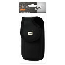 Reiko Vertical Rugged Leather Mat. Pouch Black Velcro For Samsung Note 3PL & 4PL