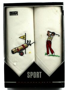 Pair of Vintage Men's Handkerchiefs Cotton New In Box Embroidered Golf Novelty