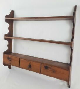 Vintage 3-Tier Wall Display Shelf Rack Knick Knack Tea Cup Spice Drawer Curio