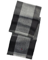 Tommy Hilfiger Mens Oversize Buffalo Plaid Scarf Grey