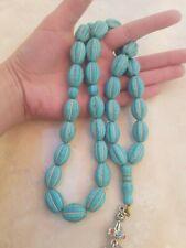 Sinai turquoise GemStone Beads Rosary Prayer Islamic Natural Stoneفيروز سيناوي