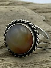 VINTAGE OLD PAWN STERLING SILVER BEAUTIFUL SIGNED AGATE RING SIZE 6.75