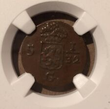 1809 NETHERLAND EAST INDIES 1/2 DUIT NGC AU 55 BN BATAVIAN REPUBLIC HOLLAND ARMS