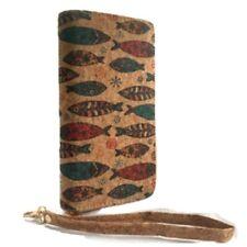 Women's Fashion Zipper Clutch Cork Wallet Fish Designs