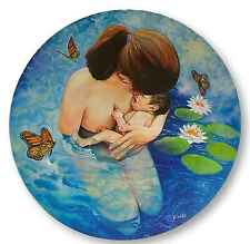 Mother and Baby Original Oil Painting On Round Canvas Water Birth Lilies Surreal