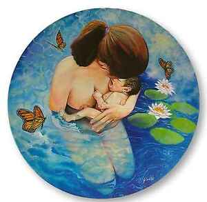 Mother and Baby Original Oil Painting Round Canvas Water Birth Lilies Surreal
