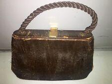 Vintage 1940's Brown Mid-Century Modern Purse, Handbag Very Rare Antique History