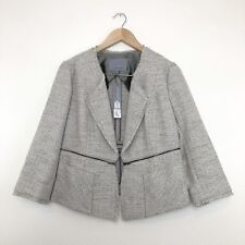 NEW $268 Classiques Entier Tweed Jacket Blazer Sz M Medium 3/4 Sleeve Pockets