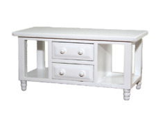Dolls House Modern White Coffee Table With Drawers Miniature 1 12 Furniture