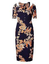 NEW LADIES DRESS NAVY MIX ORANGE FLOWER PRINT MARKS & SPENCER COLD SHOULDER