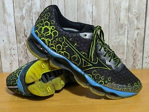 Mizuno Mens Sz 11.5 Wave Prophecy 3 Blue Black Yellow Running Athletic Sneakers