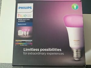 PHILIPS Hue White & Col. Amb. E27 Starter Set Bluetooth LED Leuchtmittel RGB NEU