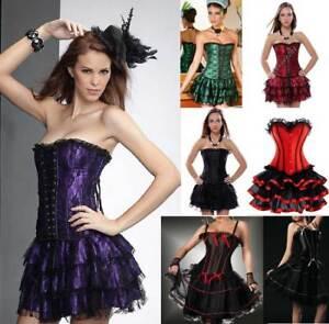 Burlesque Costume Corset Basque Cincher Lingerie Bustier Skirt Thong Set 6-24 20