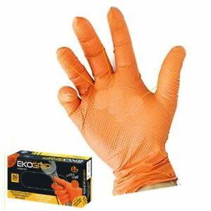 Guanti in Nitrile monuso arancio senza lattice Eko grip Guanto no talco   50 P