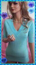 Large DOLL Aqua Seafoam Career Sweater Knit Shirt Pullover Blouse Top Tunic