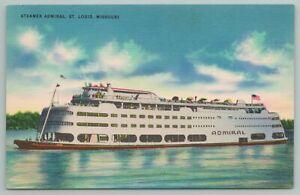 St Louis Missouri~Steamer Admiral~Vintage Postcard