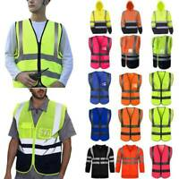 Men Hi Viz Vis Waterproof Work Hoodie Reflective Sweatshirt Coat Jacket Vest Top