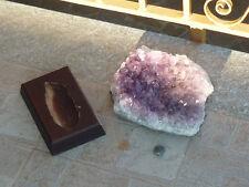 cristalloterapia DRUSA AMETISTA GIGANTE base legno A+ URUGUAY minerale cristallo