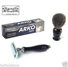 Double Edge Safety Razor Badger Hair Shaving Brush Arko Cream Wilkinson Blades