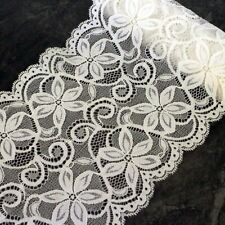 2m of White Stretch Lace Trim Sewing and Dressmaking Edging 155mm LC27