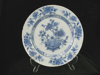 Antique 18thc Delft Blue and White Floral Plate - c. 1780 - 8.5""