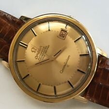 Vintage 18K Rose Gold OMEGA CONSTELLATION 561 Cinnamon Pie Pan Dial Men's Watch