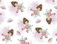 FAT QUARTER PRECIOUS MOMENTS BALLERINA DANCE FABRIC SPRINGS CREATIVE COTTON   FQ