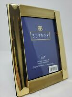 """NIB Burnes Picture Frame-Gold Metal-5x7"""" Photo-Stand Up-Flip-Lacquer Coated"""