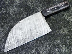 CUSTOM HANDMADE DAMASCUS STEEL FULL TANG CLEAVER KNIFE - HARD WOOD - PS-1350