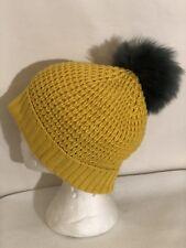 New! Norla Canada OS Yellow Women's Pom Pom Fold Over Cuff Knit Beanie $58