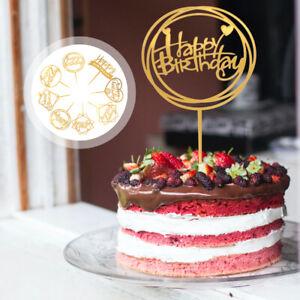 8pc Acrylic Cake Topper Happy Birthday Love Wedding Party Cake Baking Decoration