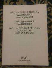 Libretto garanzia originale IWC