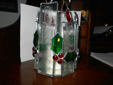 PERFECT CHRISTMAS CENTER PIECE STAINED GLASS  BEVELED CANDLE HOLDER