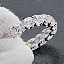 4.00CT CUSHION CUT DIAMOND FULL ETERNITY BAND 14K WHITE GOLD WEDDING RING