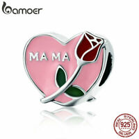 BAMOER Authentic 925 Sterling Silver Charm Mother love confession for Bracelet