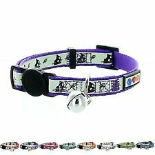 Pawtitas Pet Glow in The Dark Cat Collar With Safety Buckle and Bell Purple
